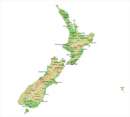 Carte physique néo-zélandaise très détaillée avec étiquetage.