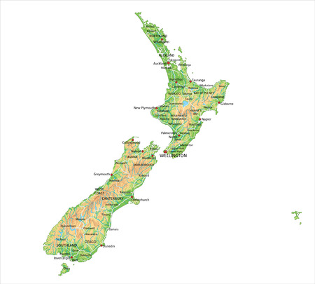 High detailed New Zealand physical map with labeling.