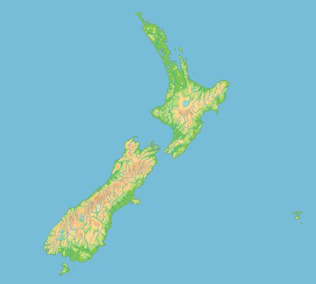 High detailed New Zealand physical map with labeling. Vektoros illusztráció