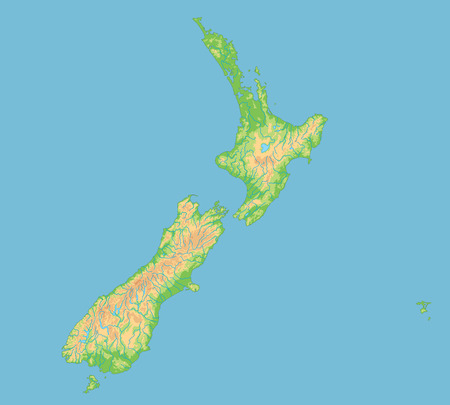 Hochdetaillierte physische Karte von Neuseeland mit Beschriftung. Vektorgrafik
