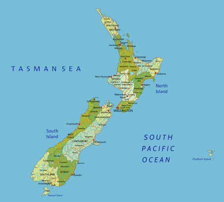 Highly detailed editable political map with separated layers. New Zealand.