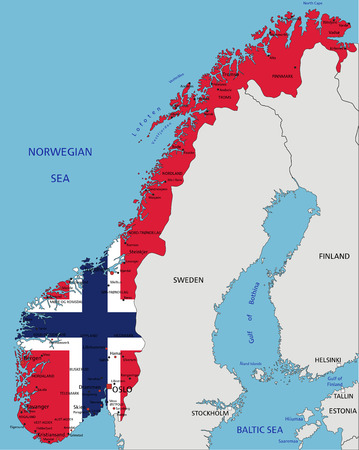 Norway highly detailed political map with national flag isolated on white background. Imagens - 122617916