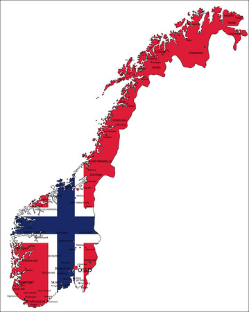 Norway highly detailed political map with national flag isolated on white background.