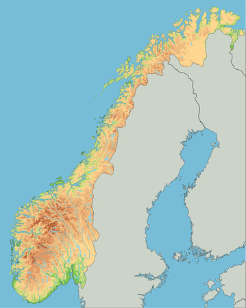 High detailed Norway physical map.