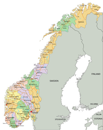 Norway - Highly detailed editable political map with labeling.
