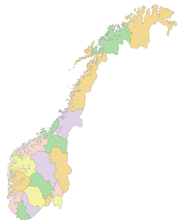 Norway - Highly detailed editable political map.