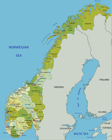 Highly detailed editable political map with separated layers. Norway.