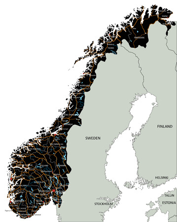 High detailed Norway road map with labeling. Illustration