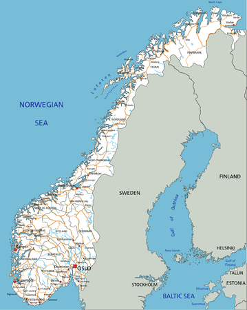 High detailed Norway road map with labeling. Imagens - 122617935