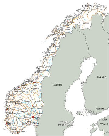 High detailed Norway road map with labeling. Ilustração