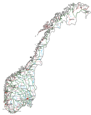 Norway road and highway map. Vector illustration.