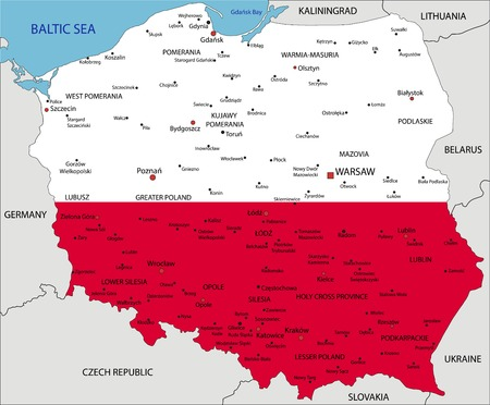 Poland highly detailed political map with national flag isolated on white background.