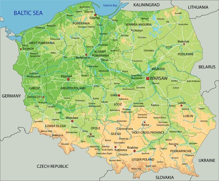 High detailed Poland physical map with labeling.
