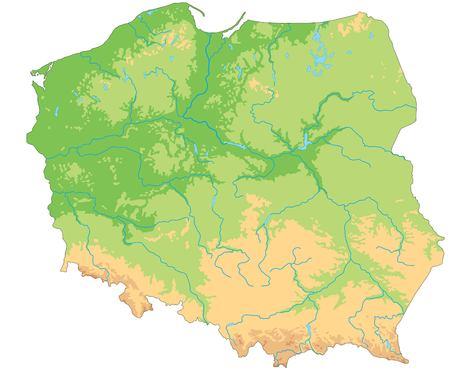 Wysoka szczegółowa mapa fizyczna Polski.