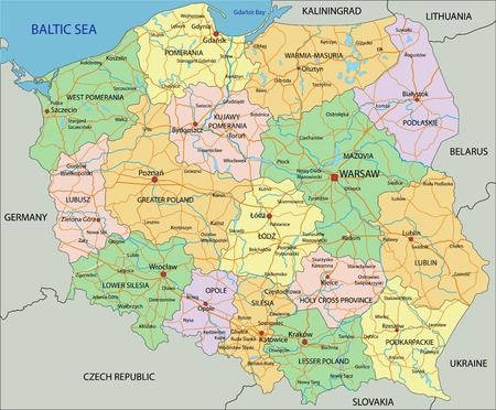Poland - Highly detailed editable political map with labeling. Vector Illustration