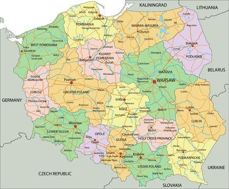 Polska - Bardzo szczegółowa, edytowalna mapa polityczna z etykietami.