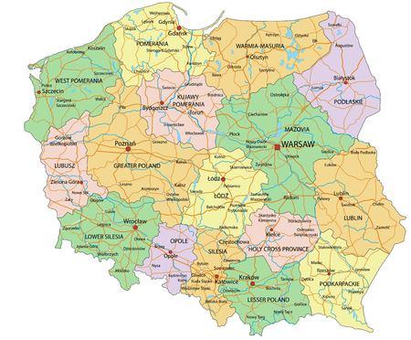 Polska - Bardzo szczegółowa, edytowalna mapa polityczna z etykietami. Ilustracje wektorowe