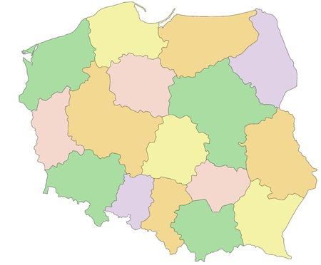 Poland - Highly detailed editable political map.