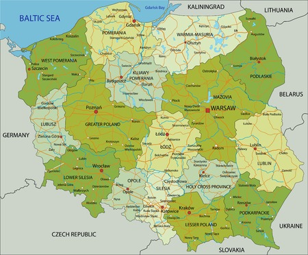 Highly detailed editable political map with separated layers. Poland. Vector Illustratie