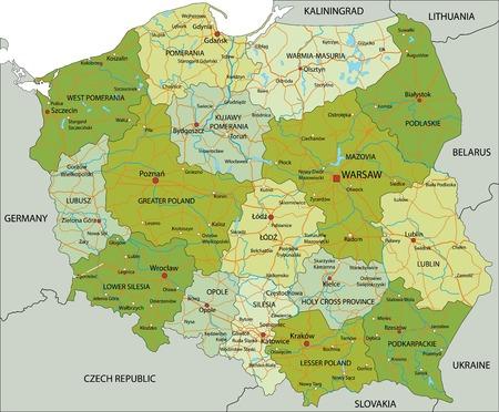 Highly detailed editable political map with separated layers. Poland. Illusztráció