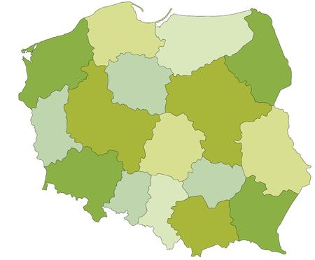 Highly detailed editable political map with separated layers. Poland. Ilustração