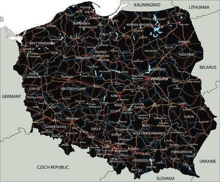 High detailed Poland road map with labeling.