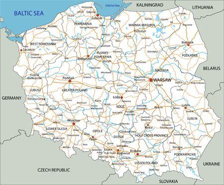 Hochdetaillierte Polen-Straßenkarte mit Beschriftung.