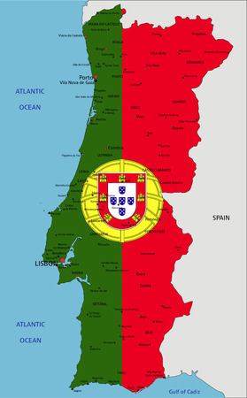 Portugal highly detailed political map with national flag isolated on white background.