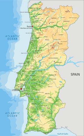 Hochdetaillierte physische Portugal-Karte mit Beschriftung.