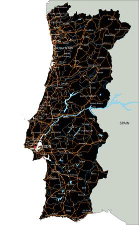 Hochdetaillierte Portugal-Straßenkarte mit Beschriftung.