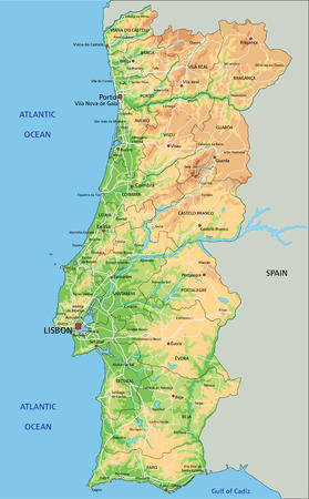 High detailed Portugal physical map with labeling.