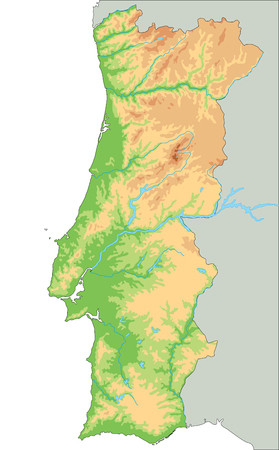 High detailed Portugal physical map.