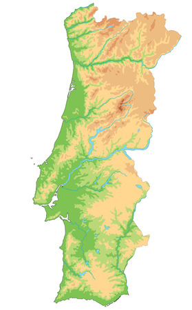 High detailed Portugal physical map. Vetores