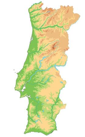 Hoge gedetailleerde fysieke kaart van Portugal. Vector Illustratie