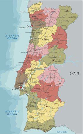 Portugal - Highly detailed editable political map with labeling.