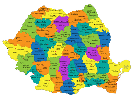 Colorful Romania political map with clearly labeled, separated layers. Vector illustration.