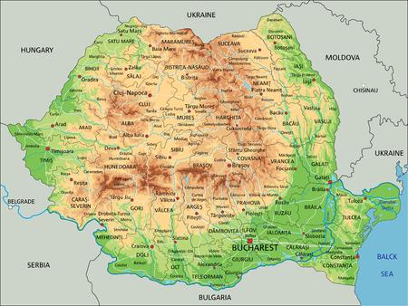 Alto mapa físico detallado de Rumania con etiquetado.