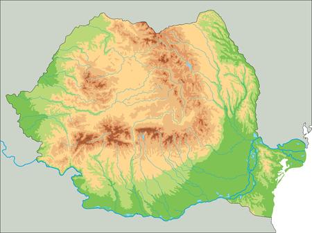 Hochdetaillierte physische Karte Rumäniens. Vektorgrafik