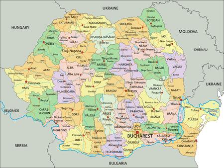Rumänien - Sehr detaillierte bearbeitbare politische Karte mit Beschriftung.