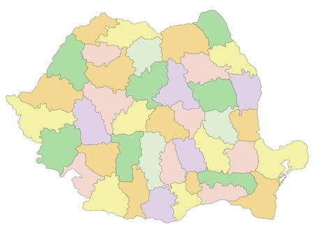 Romania - Highly detailed editable political map.