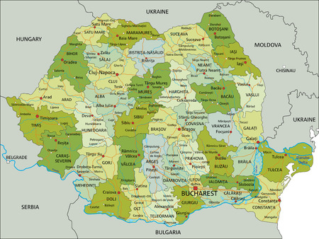 Highly detailed editable political map with separated layers. Romania. Illustration