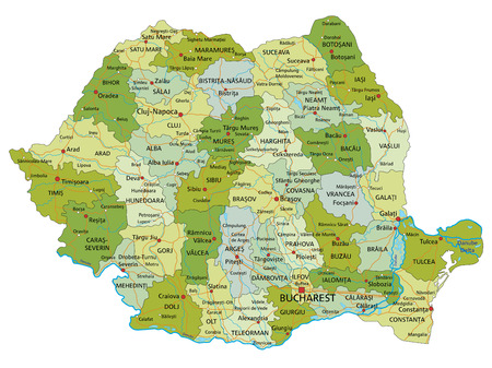 Highly detailed editable political map with separated layers. Romania. Ilustração