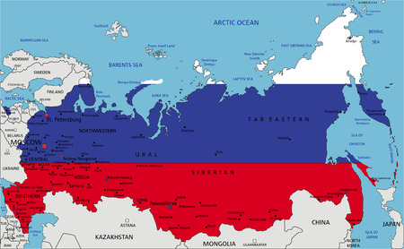 Russia highly detailed political map with national flag isolated on white background.