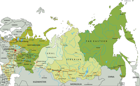 Highly detailed editable political map with separated layers. Russia.