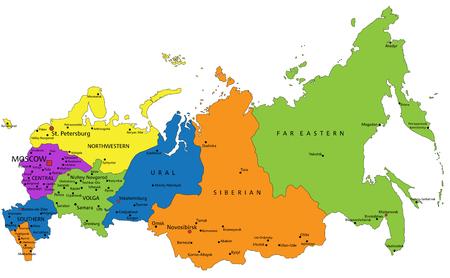 Kleurrijke politieke kaart van Rusland met duidelijk gelabelde, gescheiden lagen. Vector illustratie.