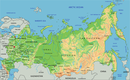 High detailed Russia physical map with labeling.  イラスト・ベクター素材