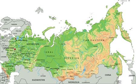 High detailed Russia physical map with labeling. Illustration