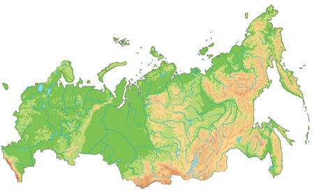 Hochdetaillierte physische Russland-Karte.