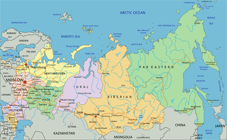Rusland - Zeer gedetailleerde bewerkbare politieke kaart met etikettering.