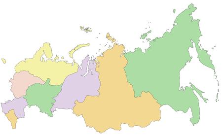Russland - Sehr detaillierte bearbeitbare politische Karte. Vektorgrafik
